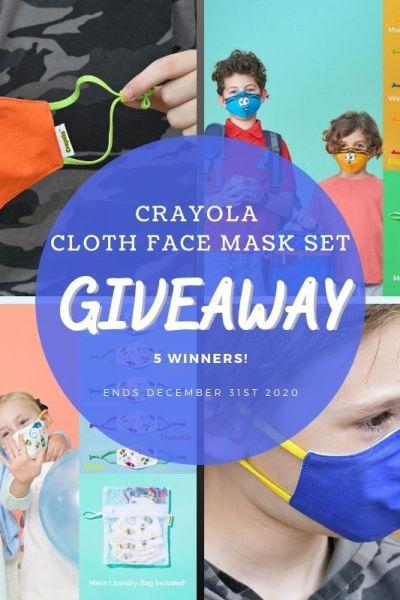 Crayola Cloth Face Mask Set Giveaway (5 Winners ~ Ends 12/31) @Schoolmaskpack