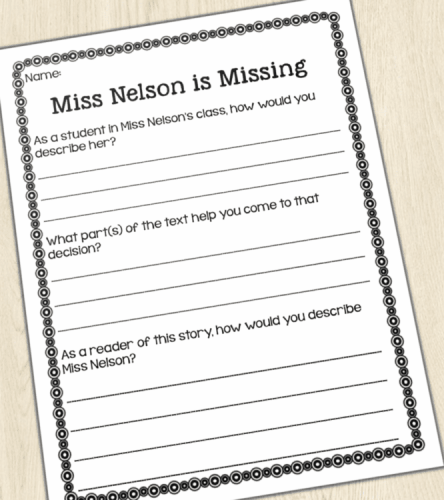 Miss Nelson is Missing Written Response