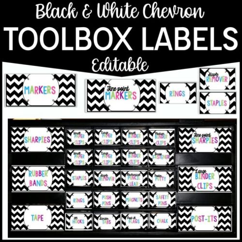 Black & White Teacher Toolbox Labels