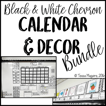 Black and White Chevron Classroom Calendar and Decor