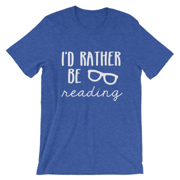 I'd Rather be Reading tee royal blue heather