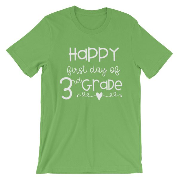 Leaf Green Happy First Day of 3rd Grade t-shirt