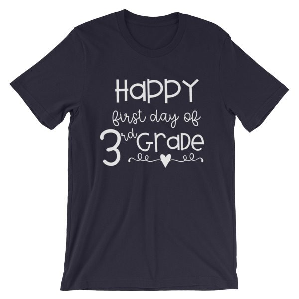 Navy Blue Happy First Day of 3rd Grade t-shirt