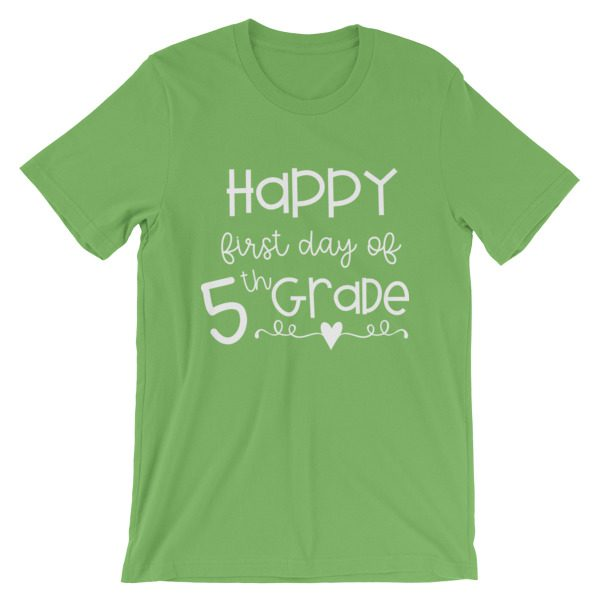 Leaf green First Day of 5th Grade tee