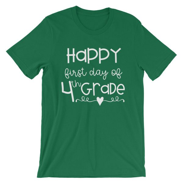 Kelly Green First Day of 4th Grade teacher tee