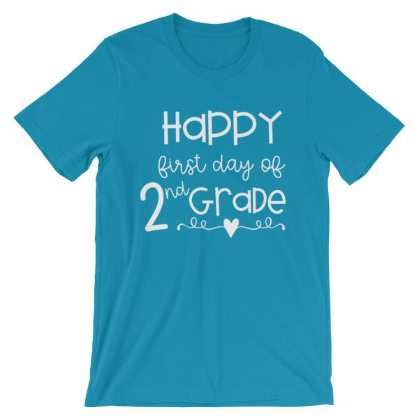 Aqua First Day of 2nd Grade teacher tee