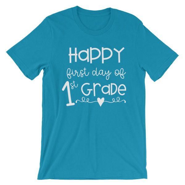 Aqua Blue First Day of 1st Grade tee