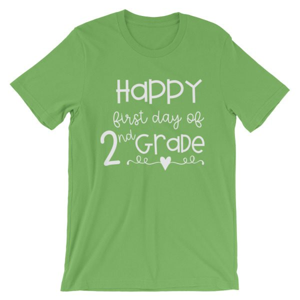 Leaf Green First Day of 2nd Grade teacher tee