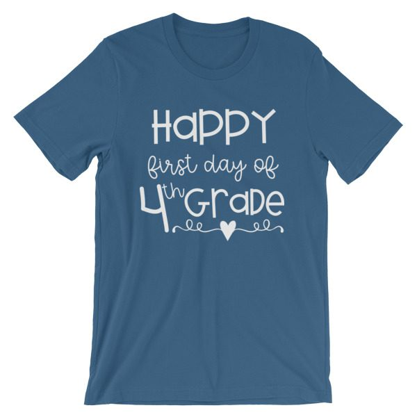 Steel Blue First Day of 4th Grade teacher tee