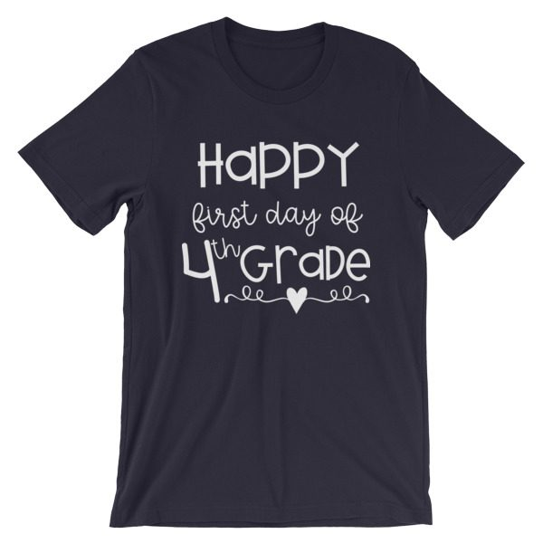 Dark navy blue First Day of 4th Grade teacher tee