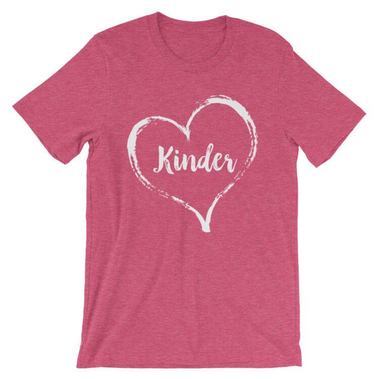 Love Kindergarten tee- Heather Raspberry Pink
