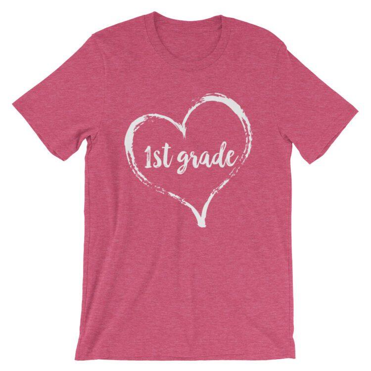 Love 1st Grade tee- Raspberry Pink