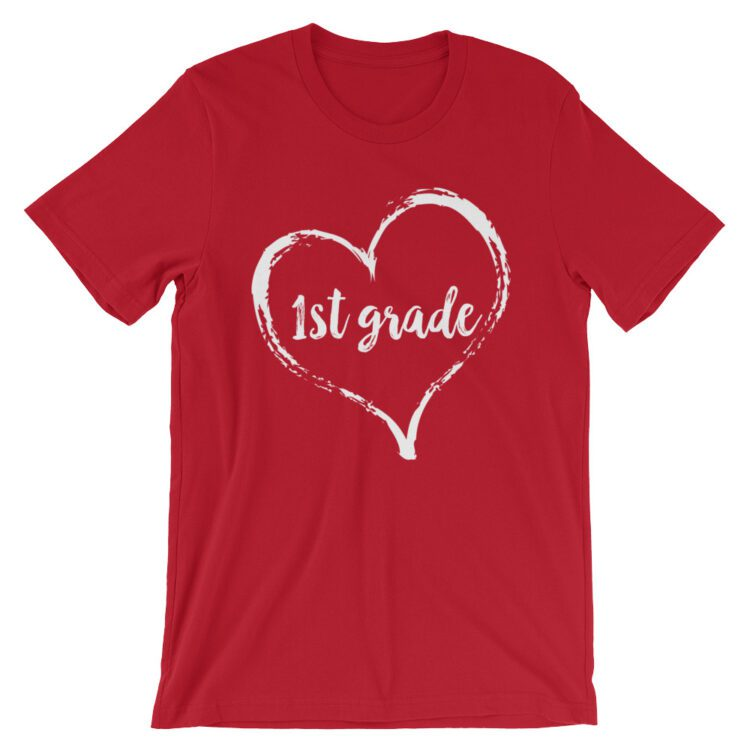 Love 1st Grade tee- Red with white
