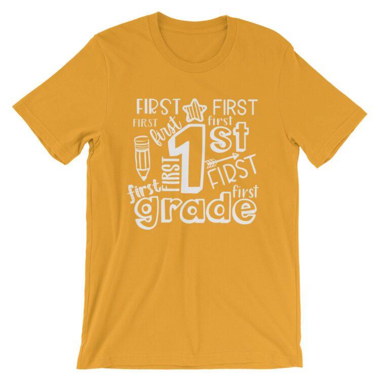 Mustard Yellow Doodle 1st Grade Teacher Tee