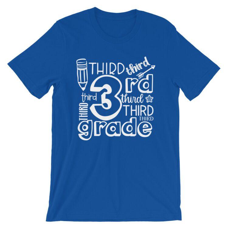 Royal Blue Doodle 3rd Grade Teacher Tee