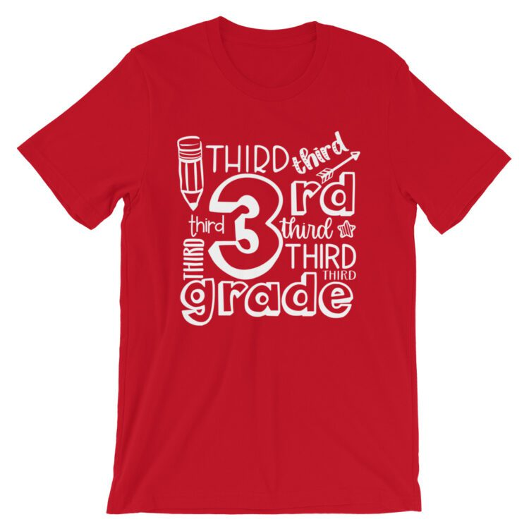 Red Doodle 3rd Grade Teacher Tee