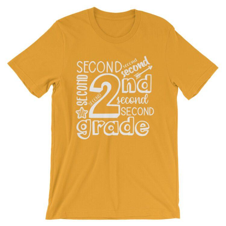 Mustard Yellow Doodle 2nd Grade Teacher Tee