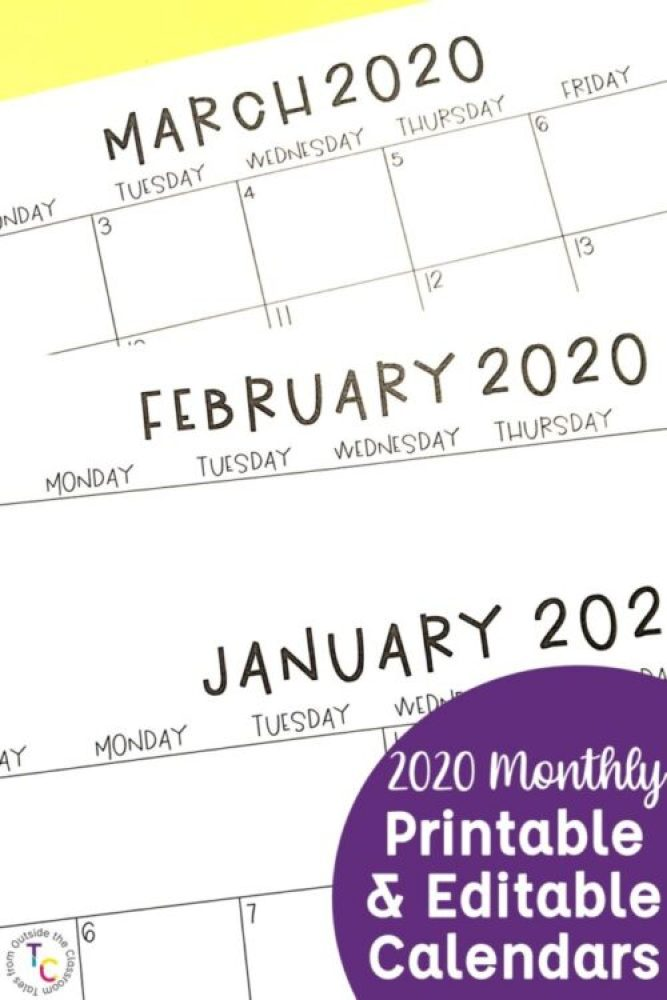2020 Monthly Printable Calendars and Editable Calendars
