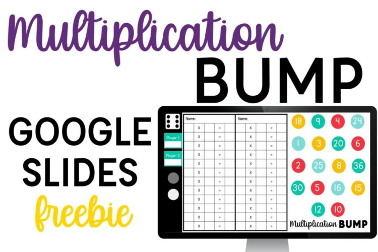 Multiplication Bump Google Slides Freebie with Computer and Game