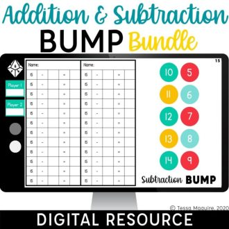 Digital Addition & Subtraction Bump Bundle for Google Slides and Google Classroom