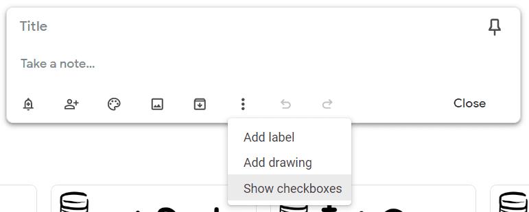 Google Keep checklist option.