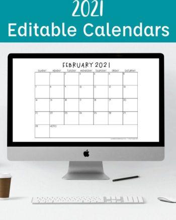 2021 Editable Calendars