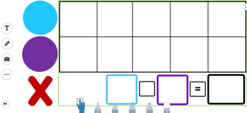 digital tens frame in SeeSaw