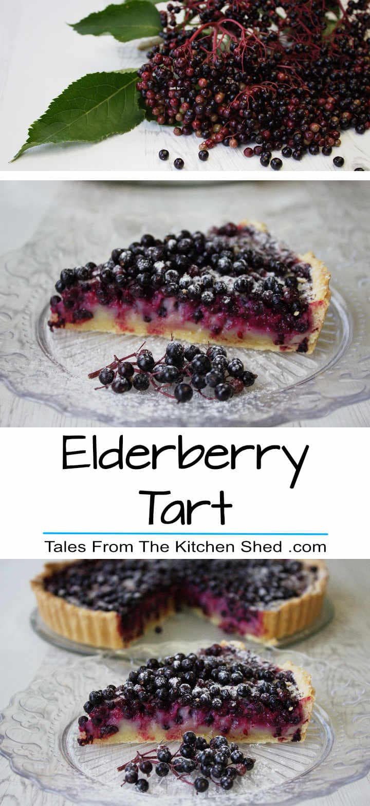 Elderberry Tart makes the most of this delicious foraged fruit. Elderberries & a cassis flavoured custard fill this butter pastry shell - Yum!