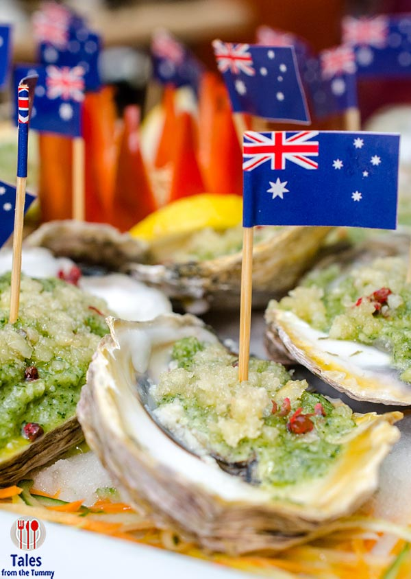 Diamond Corniche Australian Oysters with Warrigal Greens and Macadamia Nut Pesto