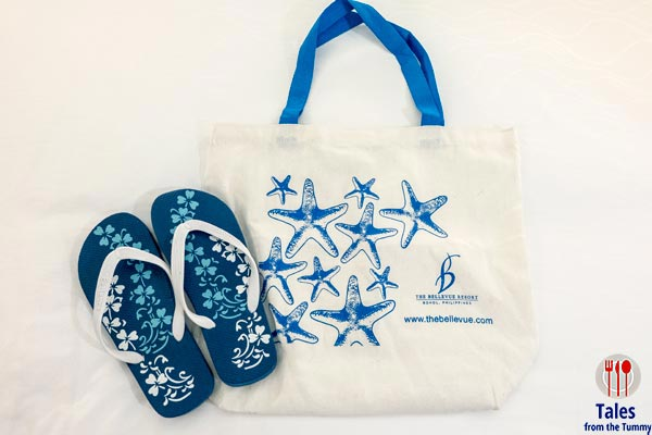 Bellevue Resort Bohol Philippines Bag and Slippers