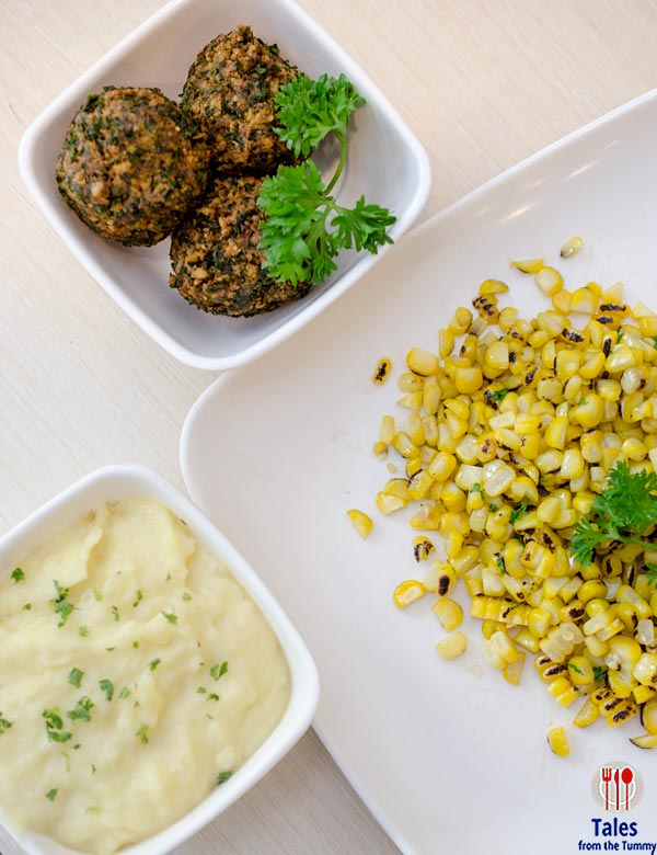 Zabo Chicken SM Jazz Falafel and Grilled Corn