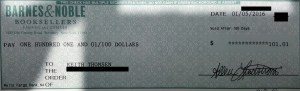 The check I received from 2015's last appearance.