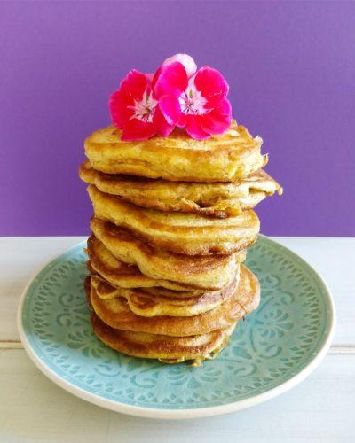 Stack of fluffy spelt pancakes