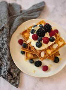 Greek yogurt breakfast waffles recipe
