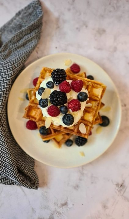 Greek yogurt breakfast waffles