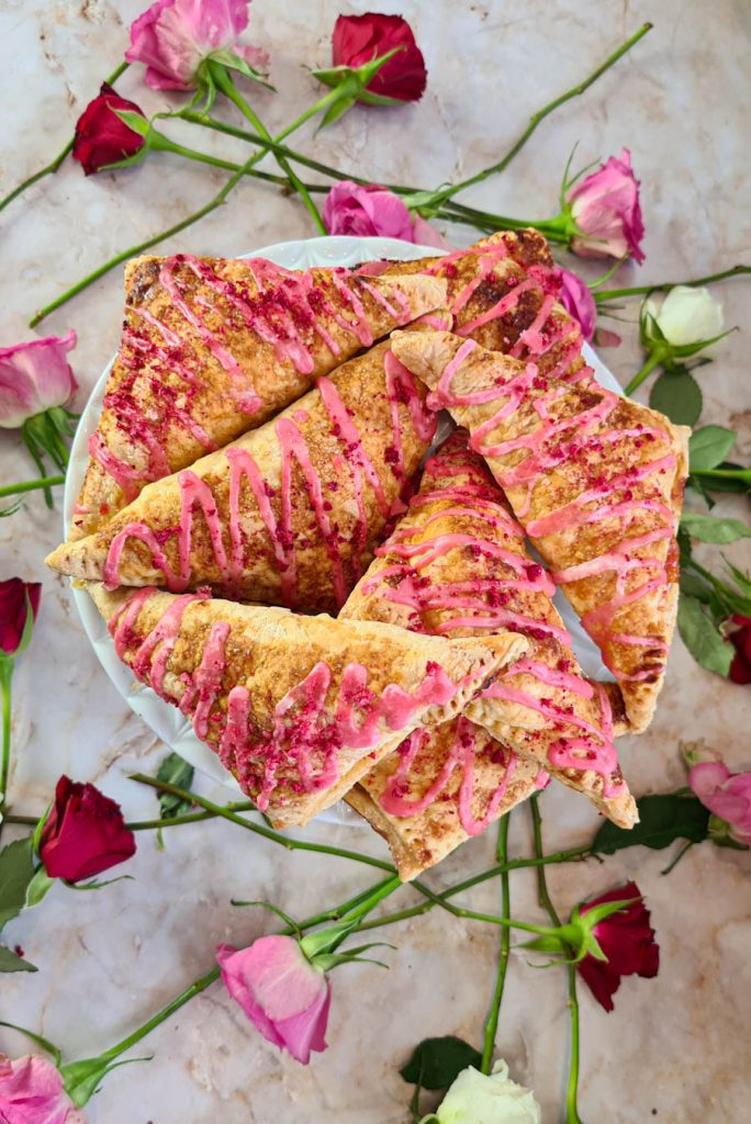 Apricot, Raspberry & Prosecco Turnovers with Rose water Icing Valentines
