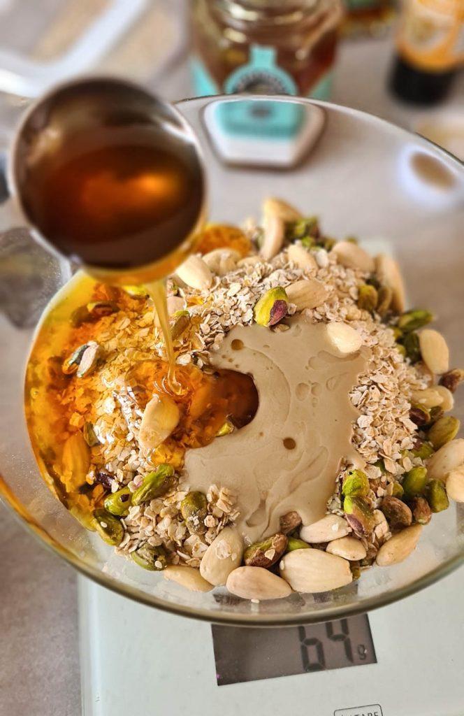 Homemade pistachio granola
