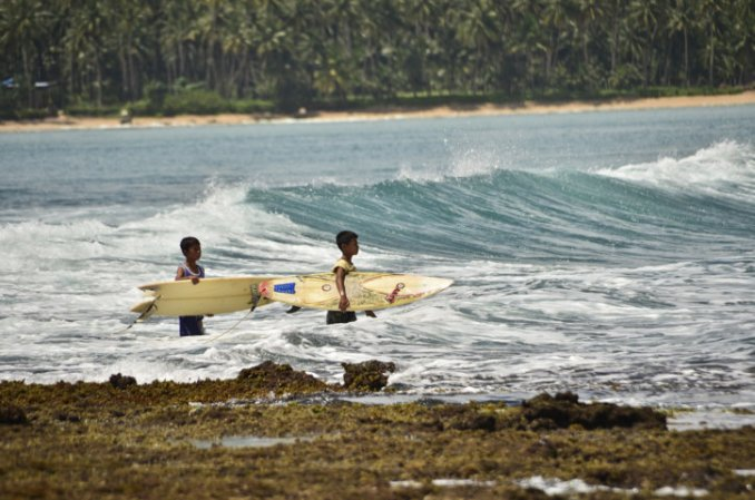 Local surfers at Nias
