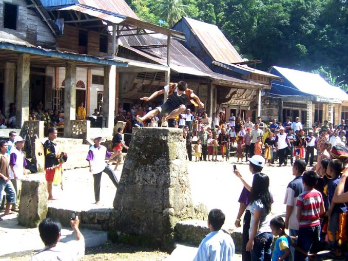 Stone Jumping Bawomataluo, Nias. Proving to be ready for manhood