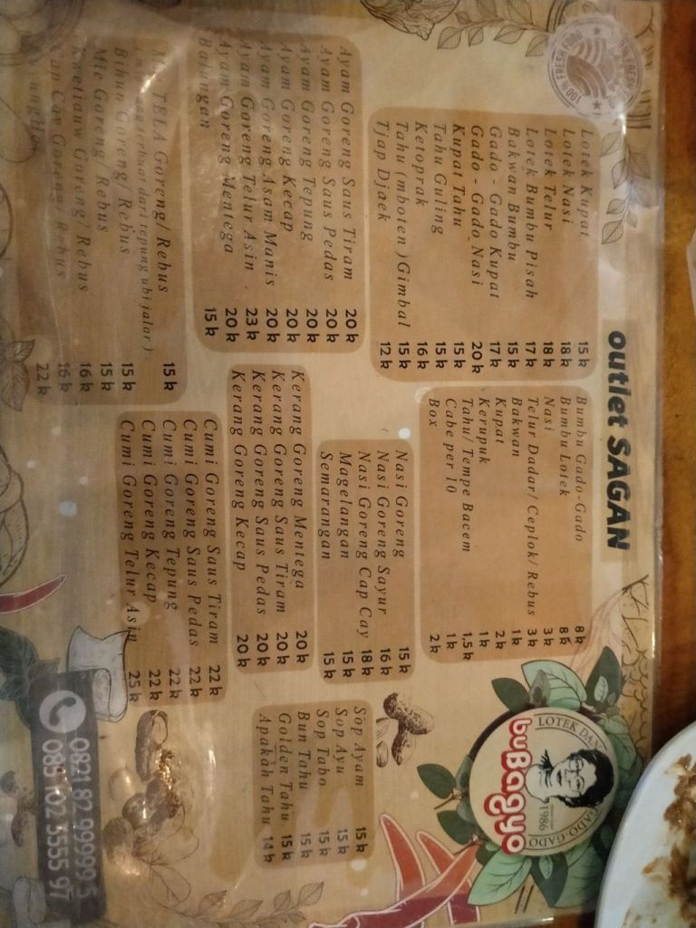 Vegetarian Indonesian food Menu