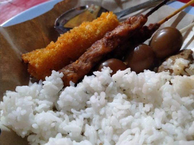 Angkringan food Resoles, chicken sate and quail egg
