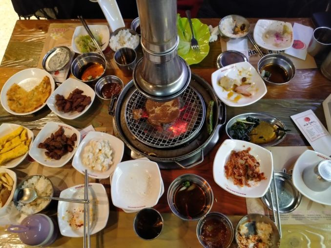 Korean BBQ food on the table