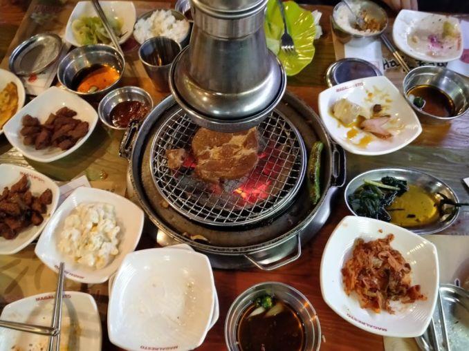 table full of korean BBQ