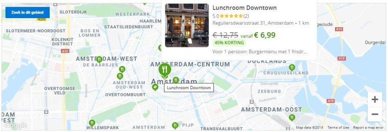 Map of amsterdam on a budget with restaurants for groupon