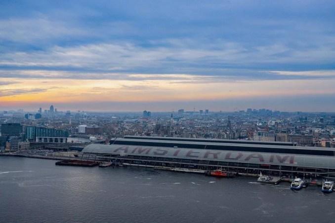 Romantic skyline view of Amsterdam