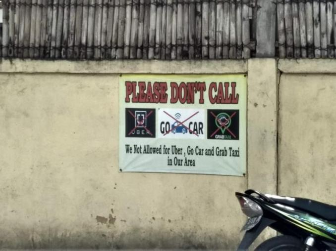Online Taxis not allowed in some areas of Bali