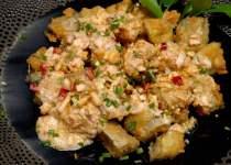 crispy fried eggplant with salted eggsauce