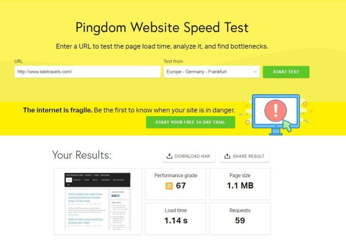 Pingdom test result for website speed