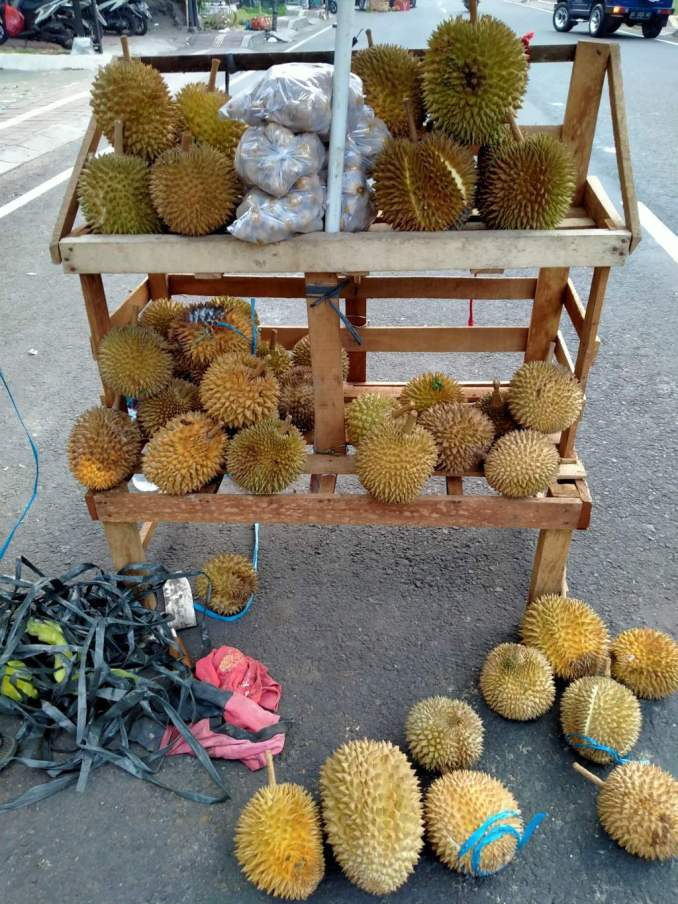 Durian fruit seller on the road