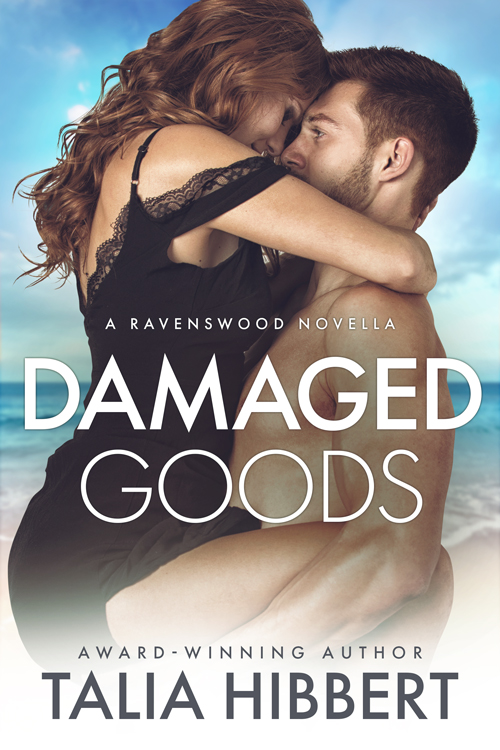 Damaged Goods by Talia Hibbert: a white-passing man, holds a white woman, their faces mostly obscured as they prepare to kiss, against a backdrop of sea and sand